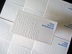 More cool knock­out text let­ter­press cards, this time in white on white, from Dolce Press