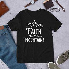 Faith Can Move Mountains Christian T-Shirt - Black Heather / 2XL