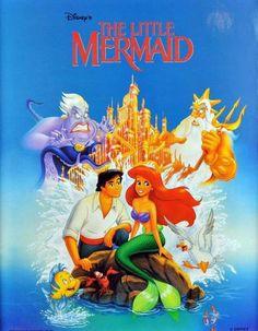 Vintage Disney Little Mermaid Ariel Castle Eric Cartoon RARE OOP Poster