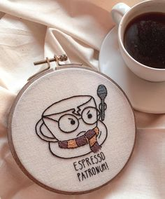 Hand Embroidery Pattern. Espresso Lover Hand Embroidery | Etsy Diy Embroidery Shirt, Funny Embroidery, Hand Embroidery Patterns Flowers, Embroidery Stitches Tutorial, Hand Embroidery Stitches, Embroidery Hoop Art, Hand Embroidery Designs, Diy Embroidery Letters, Christmas Embroidery Patterns
