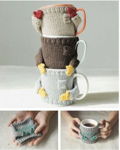 This is just too fun. DIY Mug Sweater Pattern by Nawanowe by mugsweater on Etsy Yarn Projects, Knitting Projects, Crochet Projects, Sewing Projects, Sweater Knitting Patterns, Knit Patterns, Crochet Sweaters, Diy Tricot Crochet, Diy Becher