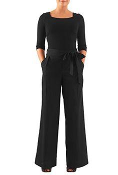 a061593220ac eShakti Womens Cotton knit and poplin palazzo jumpsuit M8 Regular Black      See this