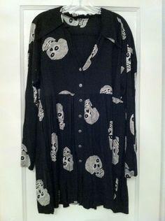 Vintage '80s Betsey Johnson Punk Label Skull Shirt Dress Top Size L—RARE   eBay