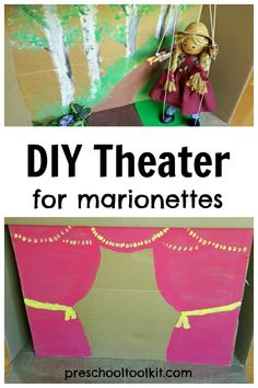 Easy to Make Cardboard Box Theater for Marionettes Preschool Toolkit Craft Stick Crafts, Crafts For Kids, Homemade Puppets, Large Cardboard Boxes, Foam Packaging, Marionette Puppet, Small World Play, File Folders, Hand Puppets