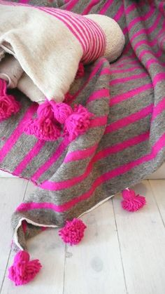 Image of Moroccan POM POM Wool Blanket -  Pink Stripes