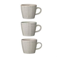 Diese 8,3cm hohe Tasse aus Bloomingvilles beliebter Carla Kollektion wird im 3er Pack geliefert. Dieses grafisch gestaltete Porzellan bringt Leben auf den Tisch!