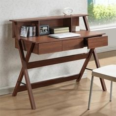 CorLiving Folio Writing Desk with Hutch Finish: Home Office Desks, Home Office Furniture, Furniture Design, Brown Furniture, Wood Furniture, Study Table Designs, Muebles Living, Study Desk, Study Tables