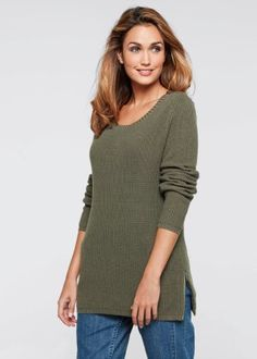 Le pull en maille manches longues - designed by Maite Kelly, bpc bonprix collection Maite Kelly, Look Chic, Pulls, Pullover, Sweaters, Collection, Design, Fashion, Long Dress Patterns