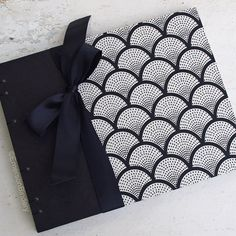 Wedding Guest Book Art Deco in Black and Cream by EmersonBindery