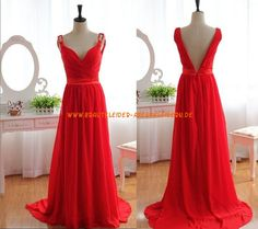 V-neck Lange Rote Abendkleider aus Chiffon