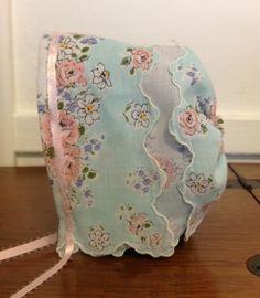 crafts vintage hankerchiefs | CLARA Bonnet from vintage hankie | Fabric Crafts, Sewing, etc.