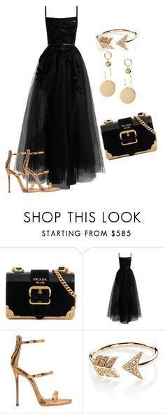 """Black dress"" by sanela-hukic ❤ liked on Polyvore featuring Prada, Elie Saab, Giuseppe Zanotti and EF Collection"