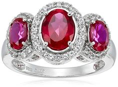 Sterling Silver Created Ruby and Created White Sapphire Ring Size 7 * You can get additional details at the image link. White Sapphire, Heart Ring, Jewelry Rings, Image Link, Sterling Silver, Crystals, Detail, Create, Stuff To Buy