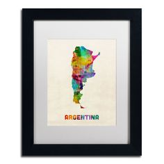 'Argentina Watercolor Map' by Michael Tompsett Framed Graphic Art