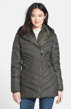 Andrew Marc Marc New York 'Kaley' Front Insert Hooded Down & Feather Jacket available at #Nordstrom