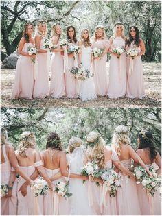 : Sonoma Blush Pink Wedding at Chalk Hill Estate Winery Light Pink Bridesmaid Dresses, Wedding Bridesmaids, Blush Pink Bridesmaids, Bridesmaid Gowns, Pink Dresses, Colored Wedding Dress, Wedding Colors, Wedding Dresses, Blush Pink Weddings