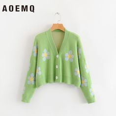 AOEMQ Fashion Winter Sweaters Cute Light Green Symbol Life Spring Sweaters with Flower Print Women Tops Christmas Sweaters - AliExpress Vintage Sweaters, Cute Sweaters, Winter Sweaters, Christmas Sweaters, Christmas Outfits, Mode Chanel, Green Cardigan, Look Vintage, Sweater Fashion