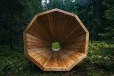 Estonian Students Build Giant Wooden Megaphones To Listen To The Forest | Bored Panda