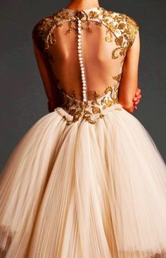 Haute Couture | pearl on back | gold embroidery | details | tulle