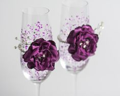 Crystal purple wedding glasses with rhinestones and by DiAmoreDS, $50.00