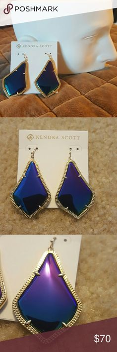 "Kendra Scott Alexandra Large Drop Earrings Slim, glossy stones filled with color are prong-set in etched, gold-plated statement earrings.  - 2 1/2"" drop; 1 1/2"" width - French wire - 14k gold plate/glass, mother of pearl, dyed magnesite or abalone  Brand new, never worn and with tags. Kendra Scott Jewelry Earrings"