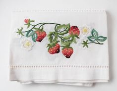 Strawberry Embroidered I Table Cloth I All Cotton I Blog Shop I $18.99 I adirondackgirlatheart.com