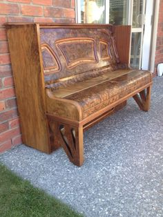 Old Piano Upcycled into seat for outside my home.