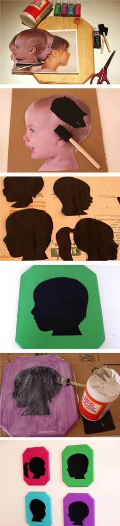 tuTORIal: DIY Vintage Pop Silhouettes -- put on colorful scrap paper, place in frame (painted or plain), hang on wall :) I put these up with hooks under each in my laundry room for kids coats and book bags! Kids Crafts, Cute Crafts, Crafts To Do, Arts And Crafts, Paper Crafts, Diy Projects To Try, Craft Projects, Photo Projects, Craft Ideas