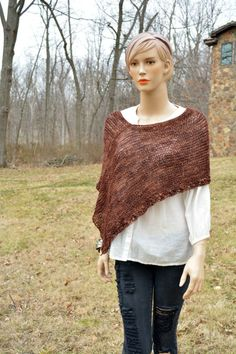 Knitted Cover Up Women Poncho Brown Poncho Knitted by CasadeAngela