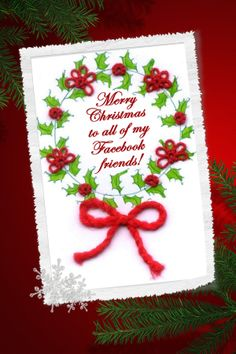 Tatted Christmas card created by my late mother, Shirley Ritzler. Feel free to share!
