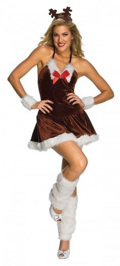 Cheekyfun Sexy Christmas Festive Reindeer by Rubies Includes Mini Dress Headband Wrist Cuffs Leg Cuffs Size  sc 1 st  Pinterest & Sexy Adult Christmas Costumes 2013-2014 | Holidays u0026 Events that I ...