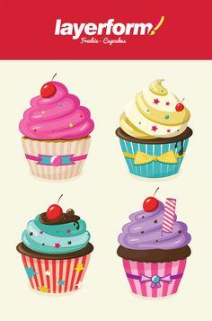 Layerform Vector Cupcakes by Layerform Magazine, via Behance