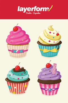Layerform Vector Cupcakes by Layerform Magazine, via Behance