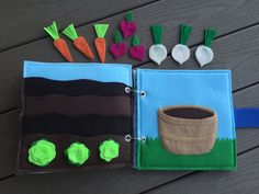Vegetable Garden Quiet Book Page by HannasQuietBooks on Etsy Kids Travel Activities, Kids Activity Books, Infant Activities, Book Activities, Diy Quiet Books, Baby Quiet Book, Felt Books, Book Projects, Sewing Projects