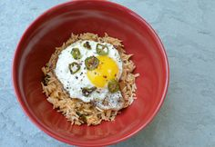 Kimchi Fried Rice with Egg and Frizzled Serrano Peppers