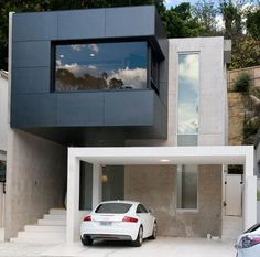 Minimalist architecture of bay house - Minimalist Bay House Architecture with Double View Design - Dream fun Design Modern Small House Design, Minimalist House Design, Minimalist Architecture, Minimalist Home, Interior Architecture, Design Exterior, Interior And Exterior, Modern Exterior, Carport Designs
