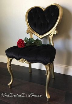 Furniture - Sold ~ The Queen of Hearts ~ Red French Provincial Vanity And Heart Backed Black Velvet Tufted Chair Steel Furniture, Funky Furniture, Classic Furniture, Unique Furniture, Shabby Chic Furniture, Cheap Furniture, Furniture Plans, Rustic Furniture, Vintage Furniture