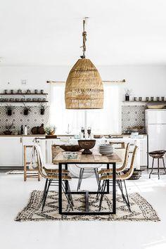 woven pendant lamp in modern dining area. / sfgirlbybay