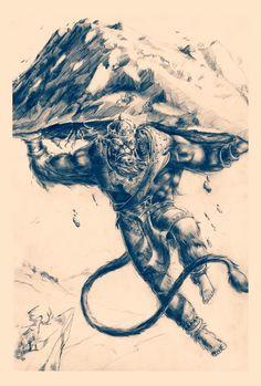 Discover the coolest jai hanuman ^_~ images Hanuman Tattoo, Hanuman Chalisa, Shiva Tattoo, Hindu Tattoos, Jai Hanuman Images, Black Pen Sketches, Art Sketches, Hanuman Ji Wallpapers, 3d Foto