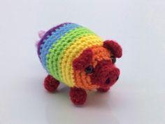 Fabrizio, the Rainbow Pig Amigurumi - Free Pattern  http://www.lonemer.com/2014/05/fabrizio-rainbow-pig.html
