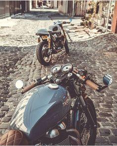 Scrambler y Racer Puebla! Triumph Cafe Racer, Triumph Scrambler, Triumph Motorcycles, Vintage Motorcycles, Thruxton Triumph, Street Scrambler, Retro Bikes, Moto Cafe, Cafe Bike