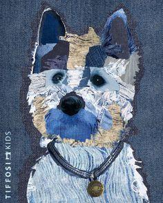 Denim dog art so adorable Dog Quilts, Animal Quilts, Jean Crafts, Denim Crafts, Denim Kunst, Denim Art, Quilt Modernen, Denim Ideas, Denim And Lace