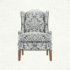 This wingback chair is structured yet has subtle curves and will give you the comfort you're seeking. In an indigo colored damask with antique brass
