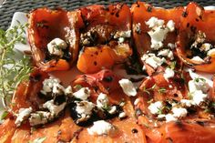 This was so good and easy! Grilled Red Peppers with Goat Cheese & Balsamic Glaze Low Calorie, Low Fat Appetizer or Salad