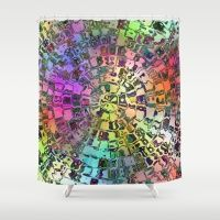 Rainbow Circular Mosaic Shower Curtain