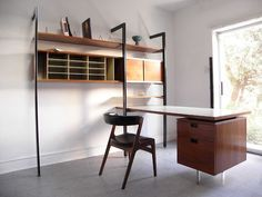 plastolux: CSS two bay wall unit with desk designed by George Nelson and manufactured by Herman Miller Desk Wall Unit, Wall Shelving Units, Luxury Interior, Interior Styling, Interior Design, Interior Decorating, Mid Century Modern Decor, Mid Century Modern Furniture, Cool Furniture