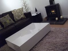 jill & jon high gloss white coffee table by JillandJon on Etsy, White Gloss Coffee Table, White Coffee, Concrete Table, High Gloss, Furniture Design, Trending Outfits, Stylish, Etsy, Ideas