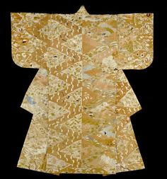 Nuihaku (Nô Costume), Momoyama period (1568–1603), 16th century Silk, plain weave; patterned with resist dyeing, impressed gold leaf, and embroidered with silk in satin, single satin, surface satin and stem stitches; couching; lined with silk, plain weave; center back panels of silk, warp-float faced 3:1 twill weave self-patterned by areas of plain weave. The Art Institute of Chicago