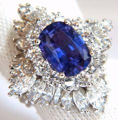 GIA 7.87CT NATURAL NO HEAT VIVID PURPLE SAPPHIRE DIAMOND RING PLATINUM