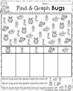 Spring Kindergarten Math Worksheets - Find and Graph Bugs